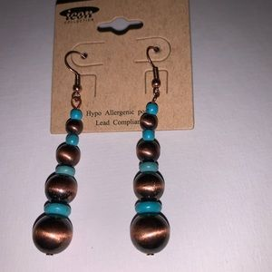 Jewelry - New Copper Turquoise long Earrings